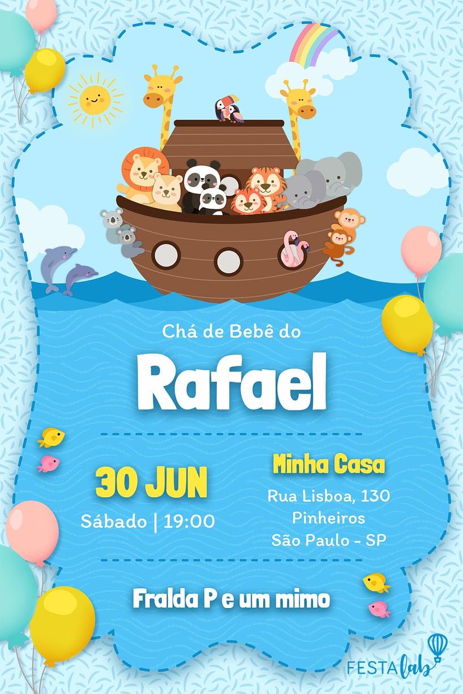 Convite de Cha de bebe - Arca de Noe