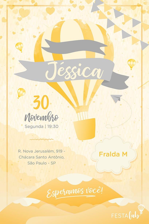 Convite de Cha de bebe - Balao Amarelo