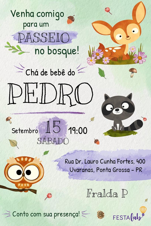 Convite de Cha de bebe - Bosque