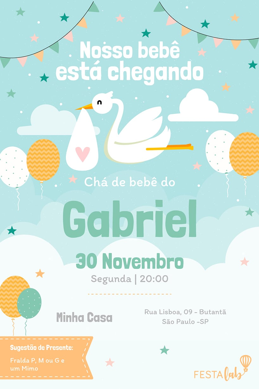 Convite de Cha de Bebe - Cegonha