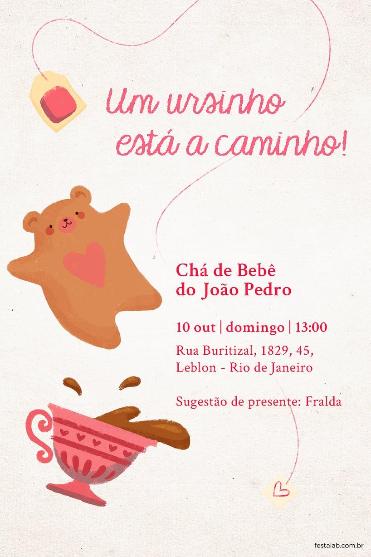 Convite de Cha de bebe - Cha do Ursinho Rosa