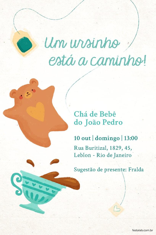 Convite de Cha de bebe - Cha do Ursinho Verde