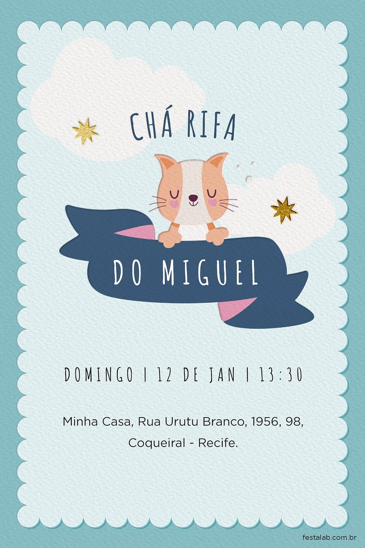Criar convite de Chá de bebê - Chá rifa gatinho| FestaLab