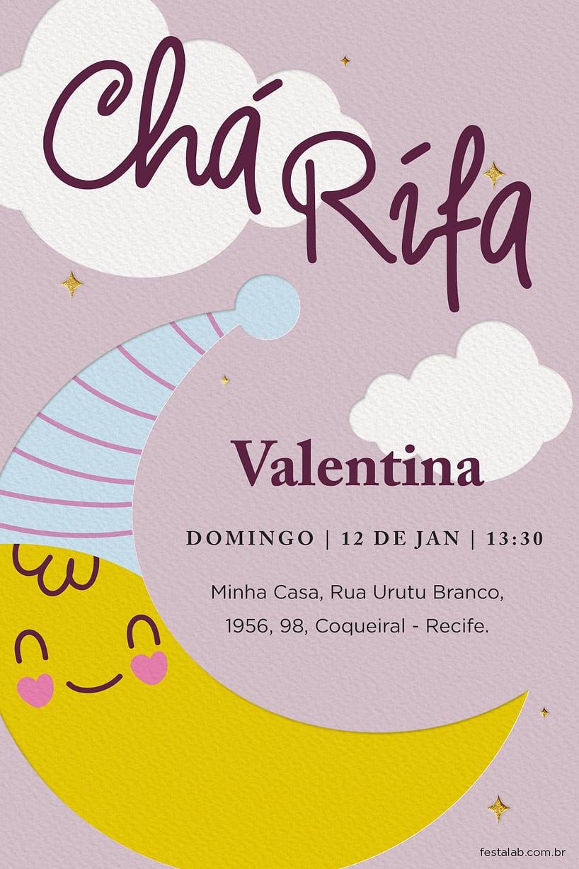 Convite de Cha de bebe - Cha rifa lua rosa