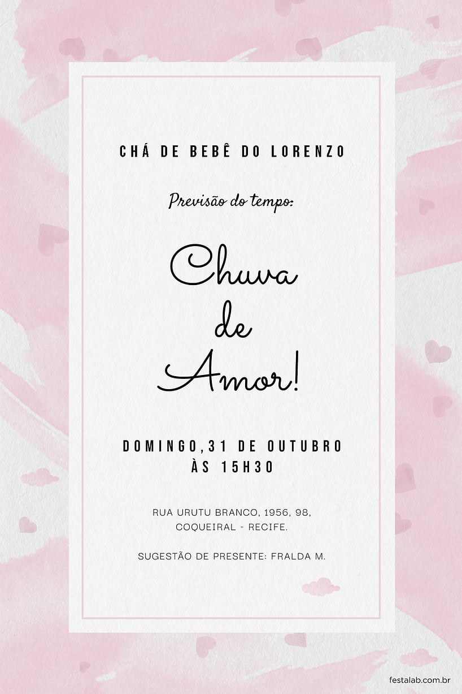 Convite de Cha de bebe - Chuva de Amor Aquarela Rosa