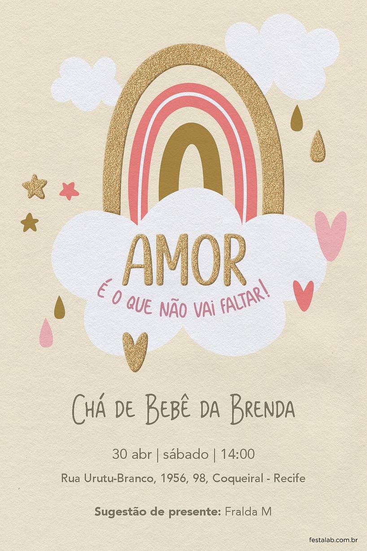 Convite de Cha de bebe - Chuva de Amor Ceu Amarelo