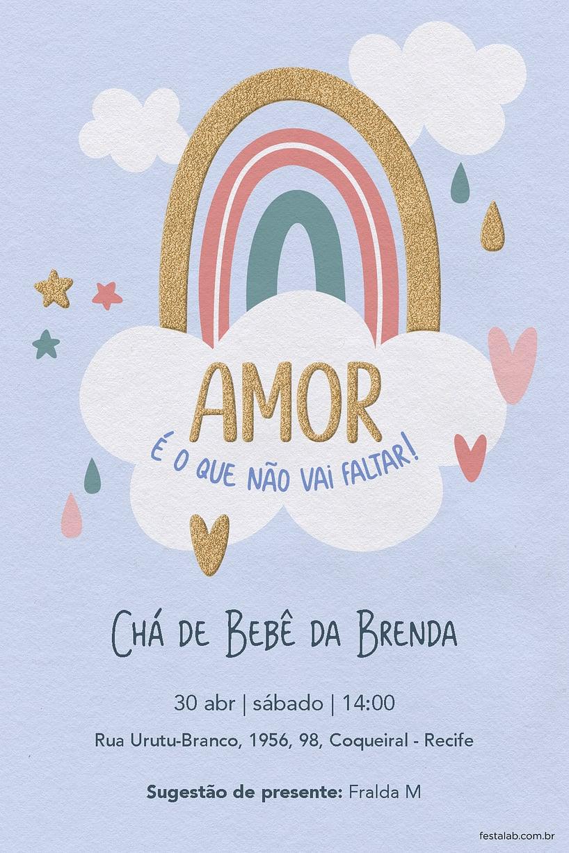 Convite de Cha de bebe - Chuva de Amor Ceu Azul