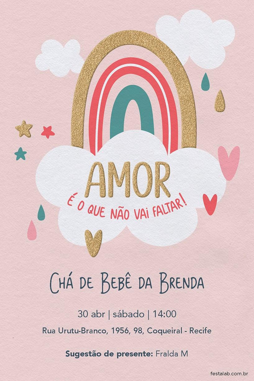 Convite de Cha de bebe - Chuva de Amor Ceu Rosa