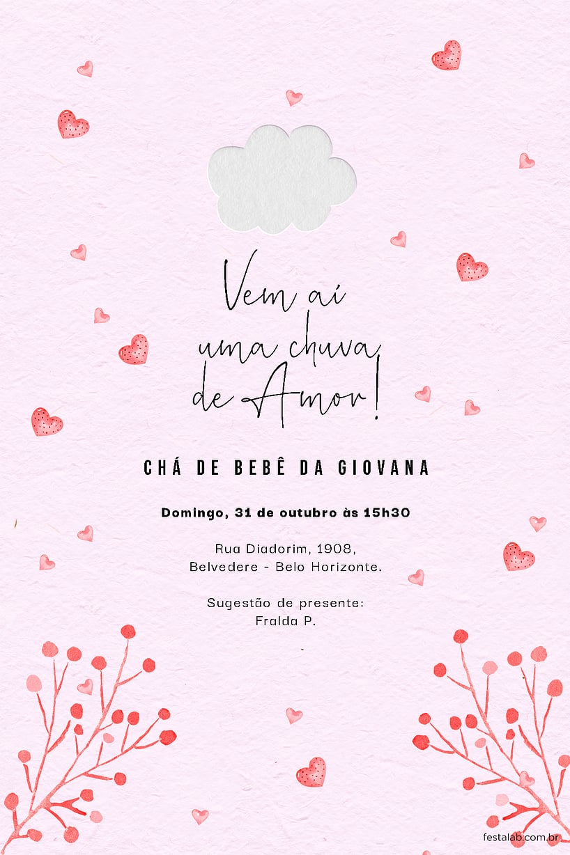 Convite de Cha de bebe - Chuva de Amor Rosa Chiclete