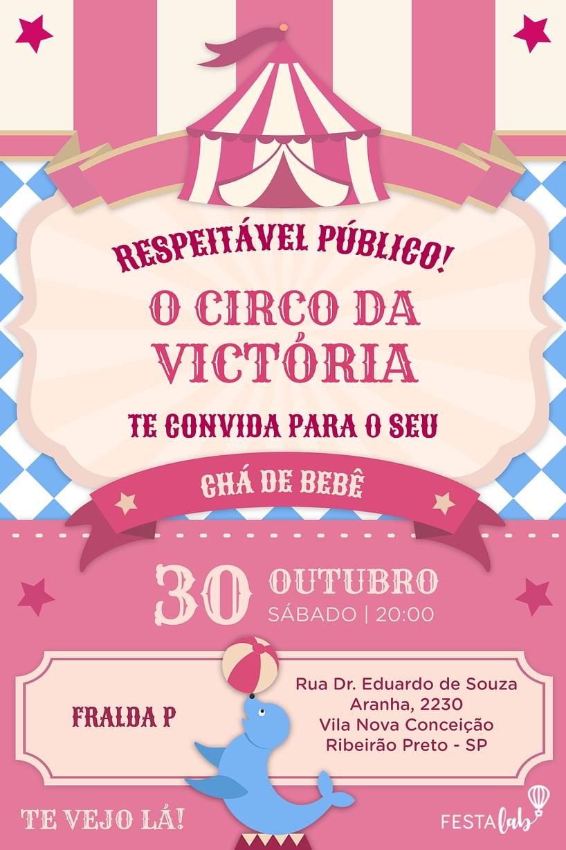 Convite de Cha de bebe - Circo