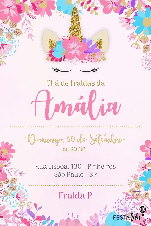 Criar convite de Chá de bebê - Coroa de Unicórnio| Festalab