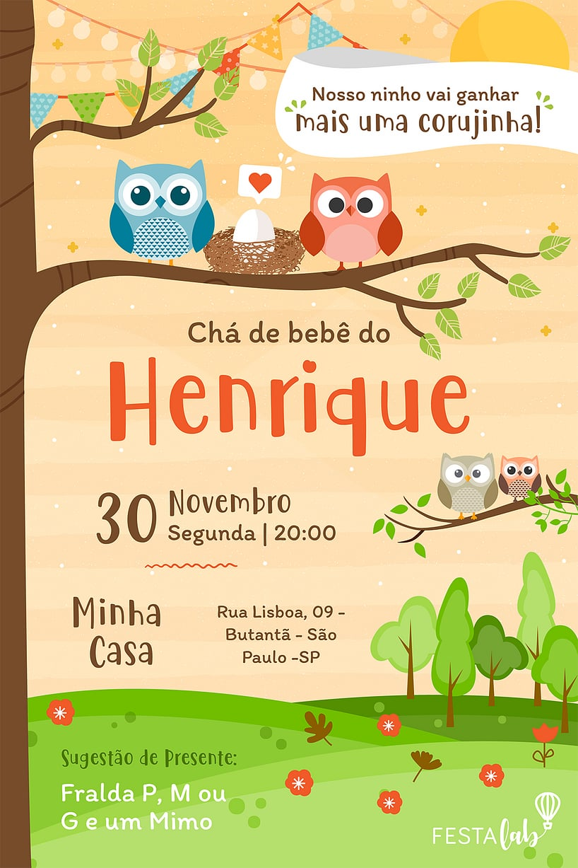 Criar convite de Chá de bebê - Corujinha| Festalab