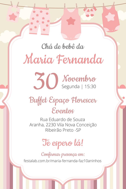 Convite de Cha de bebe - Enxoval Menina