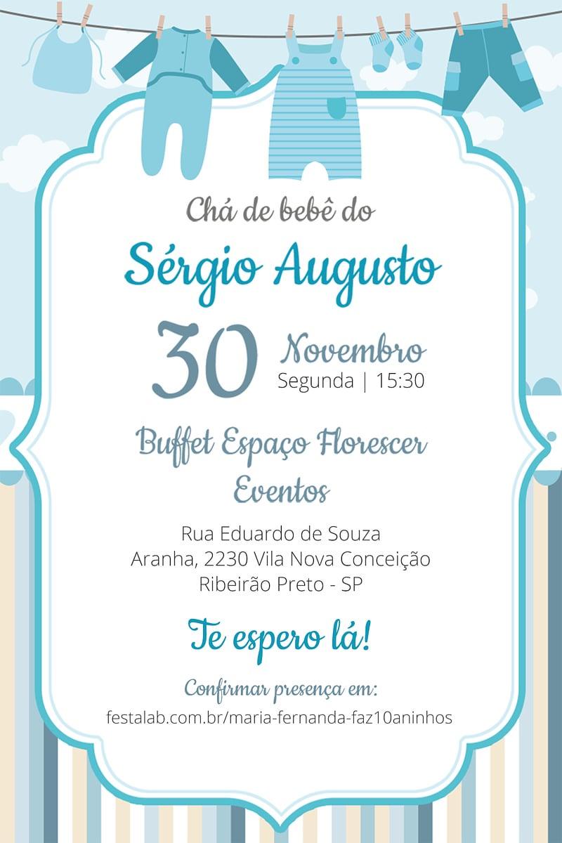 Convite de Cha de bebe - Enxoval Menino
