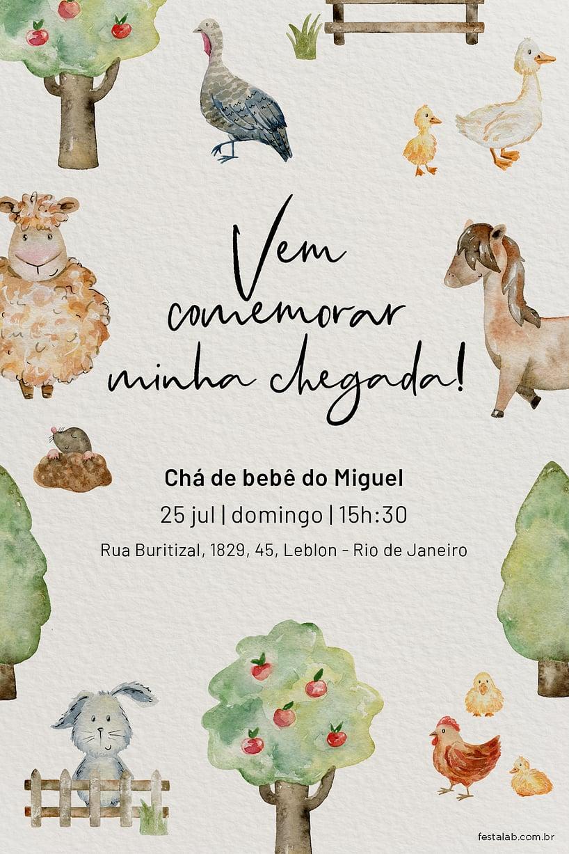 Criar convite de Chá de bebê - Fazendinha com Animais| FestaLab