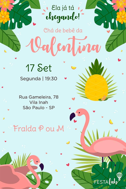 Criar convite de Chá de bebê - Flamingo| Festalab