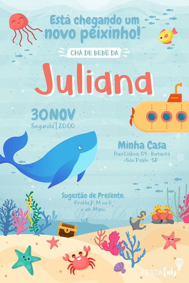Convite de Cha de bebe - Fundo do Mar