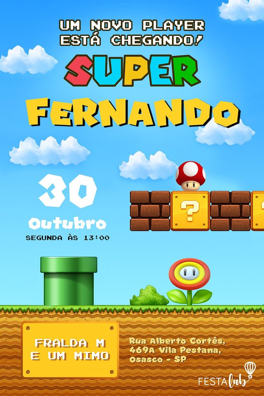 Convite de Cha de Bebe - Mario Bros.