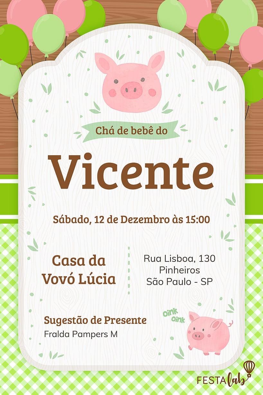 Convite de Cha de bebe - Porquinhos