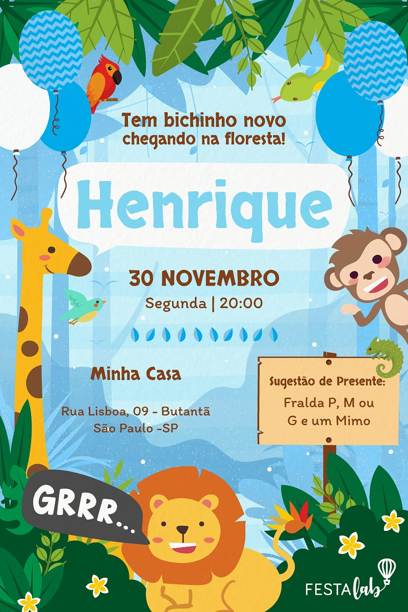 Convite de Cha de bebe - Safari