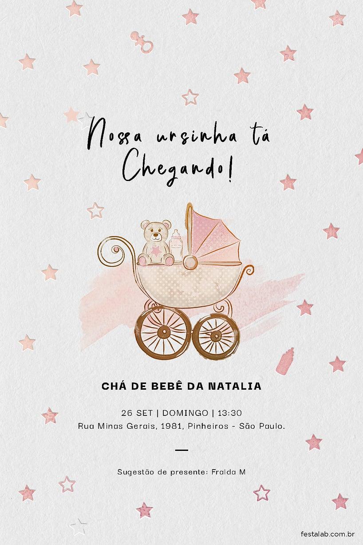 Convite de Cha de bebe - Ursinha no Carrinho