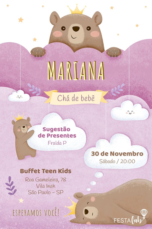 Convite de Cha de bebe - Ursinha Princesa