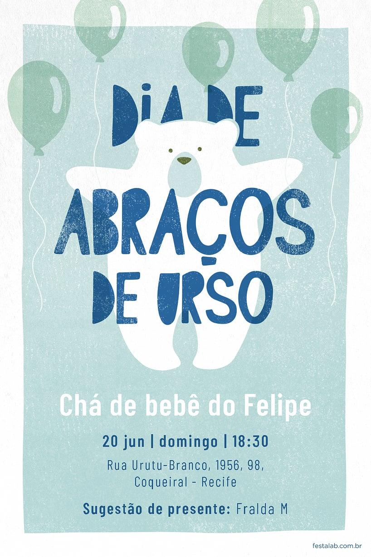 Convite de Cha de bebe - Ursinho Com Baloes Azul