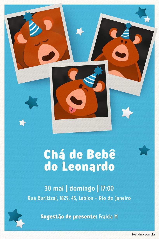 Convite de Cha de bebe - Ursinho Festa Azul