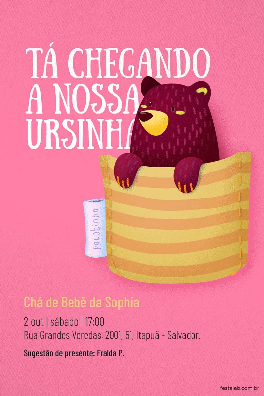 Criar convite de Chá de bebê - Ursinho no Bolsinho| Festalab