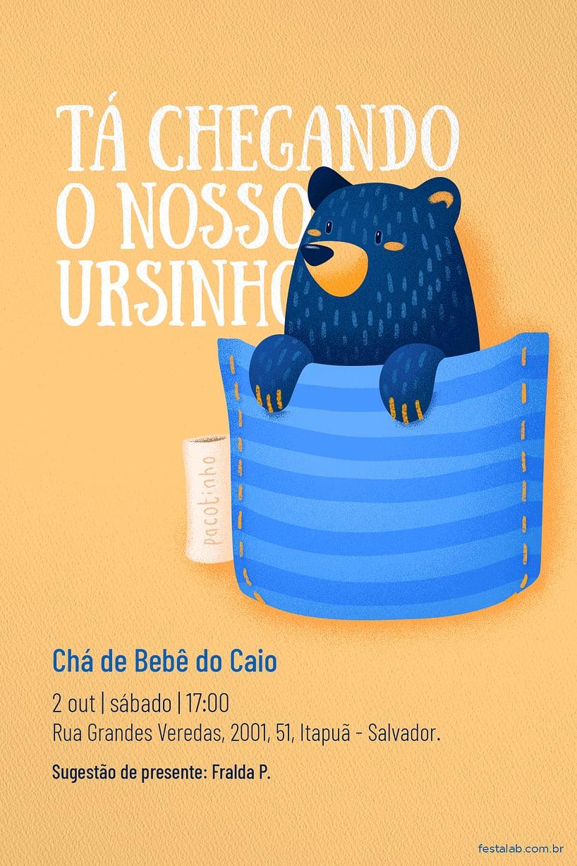 Criar convite de Chá de bebê - Ursinho no Bolsinho  FestaLab