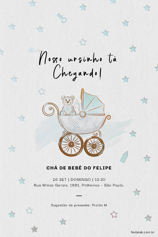 Criar convite de Chá de bebê - Ursinho no Carrinho  Festalab
