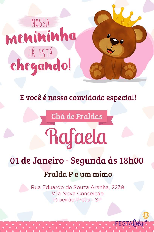 Convite de Cha de bebe - Ursinho