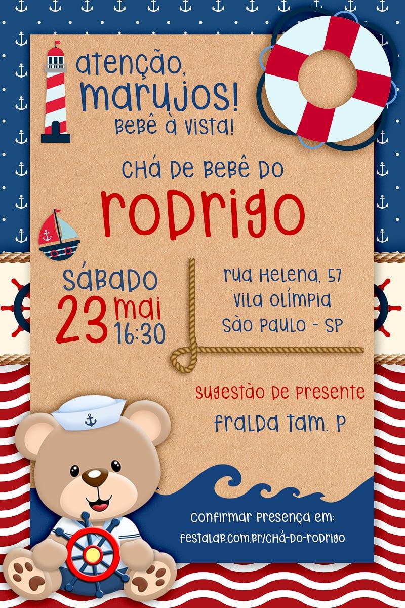 Convite de Cha de bebe - Urso Marinheiro
