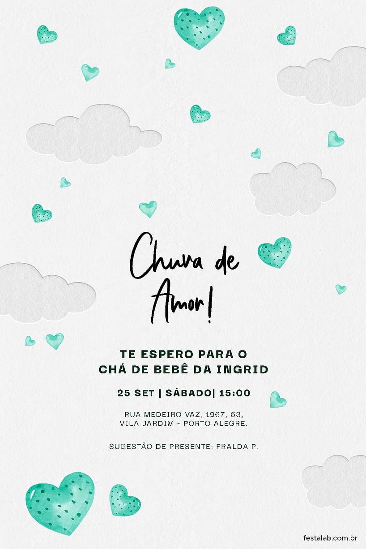 Convite de Cha de fraldas - Amor no ceu