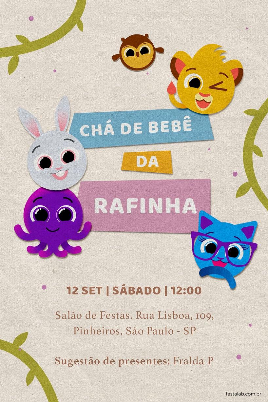 Convite de Cha de fraldas - Bolofofos Selva