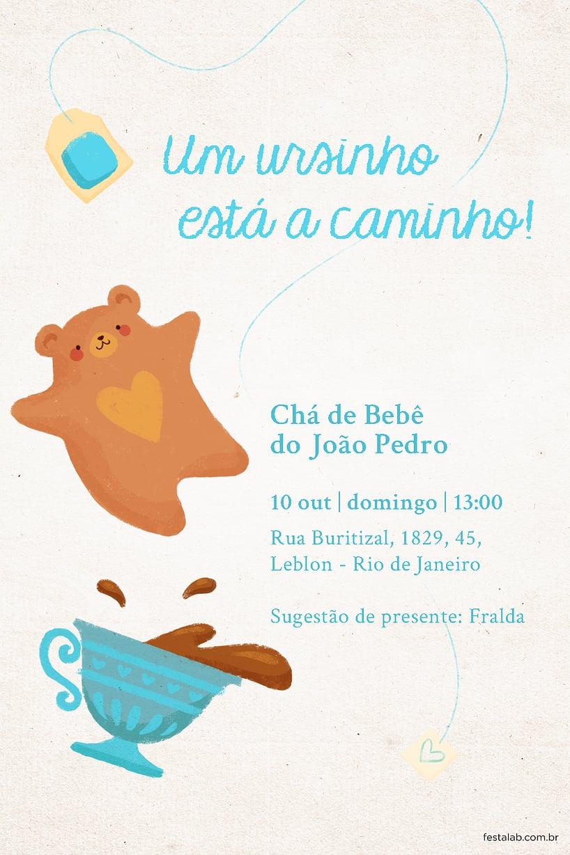 Convite de Cha de fraldas - Cha do Ursinho Azul