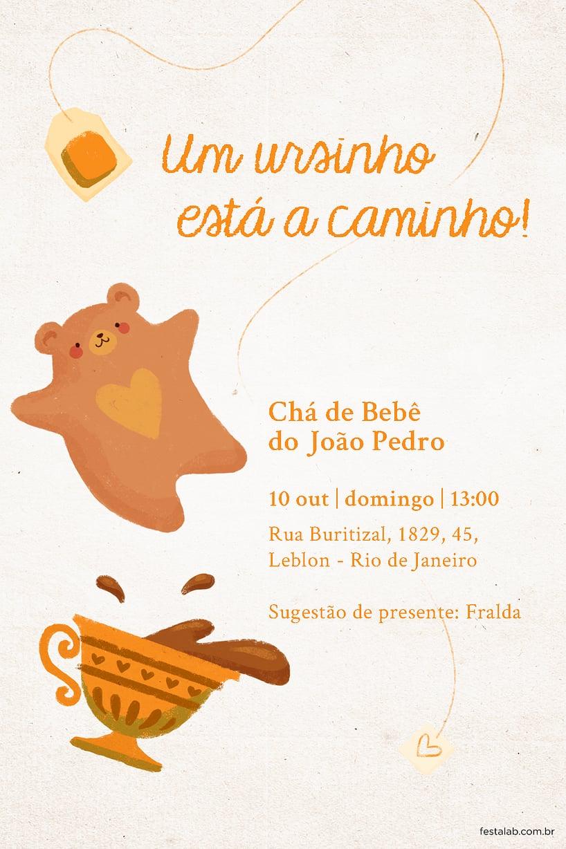 Convite de Cha de fraldas - Cha do Ursinho Laranja