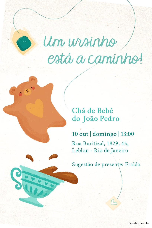 Criar convite de Chá de fraldas - Chá do Ursinho Verde| FestaLab