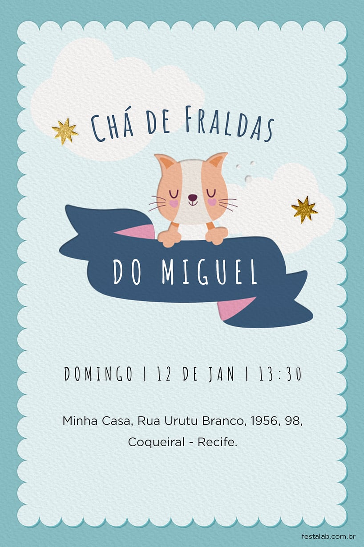 Criar convite de Chá de fraldas - Chá Fraldas gatinho| FestaLab