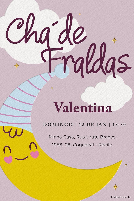Criar convite de Chá de fraldas - Chá Fraldas lua rosa  FestaLab