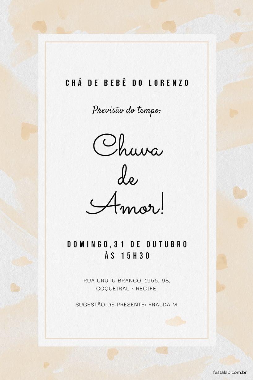 Convite de Cha de fraldas - Chuva de Amor Aquarela Amarelo