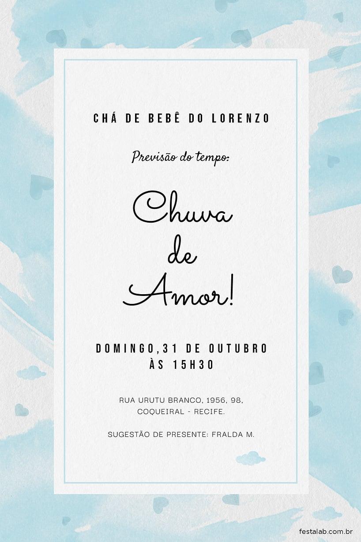 Criar convite de Chá de fraldas - Chuva de Amor Aquarela Azul| Festalab