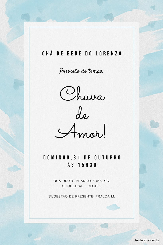 Convite de Cha de fraldas - Chuva de Amor Aquarela Azul