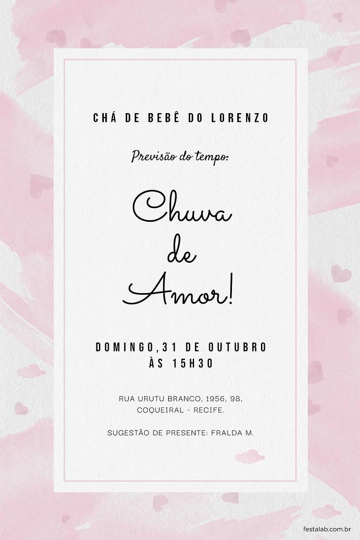 Criar convite de Chá de fraldas - Chuva de Amor Aquarela Rosa | Festalab