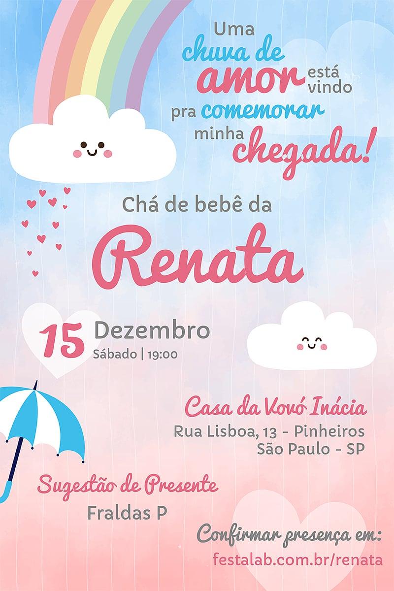 Convite de Cha de fraldas - Chuva de Amor