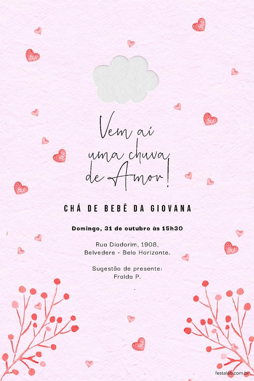 Criar convite de Chá de fraldas - Chuva de Amor Rosa Chiclete| Festalab