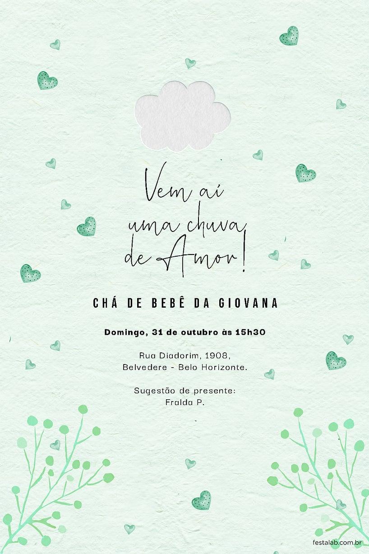 Criar convite de Chá de fraldas - Chuva de Amor Verde Água | Festalab
