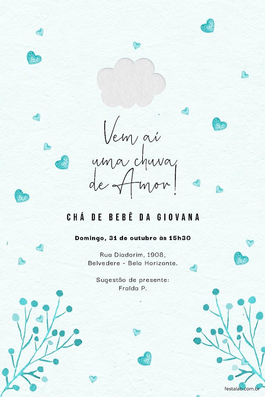 Convite de Cha de fraldas - Chuva de Amor Azul Tifanny