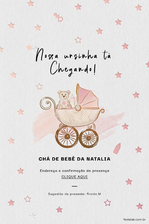Convite de Cha de fraldas - Ursinha no Carrinho