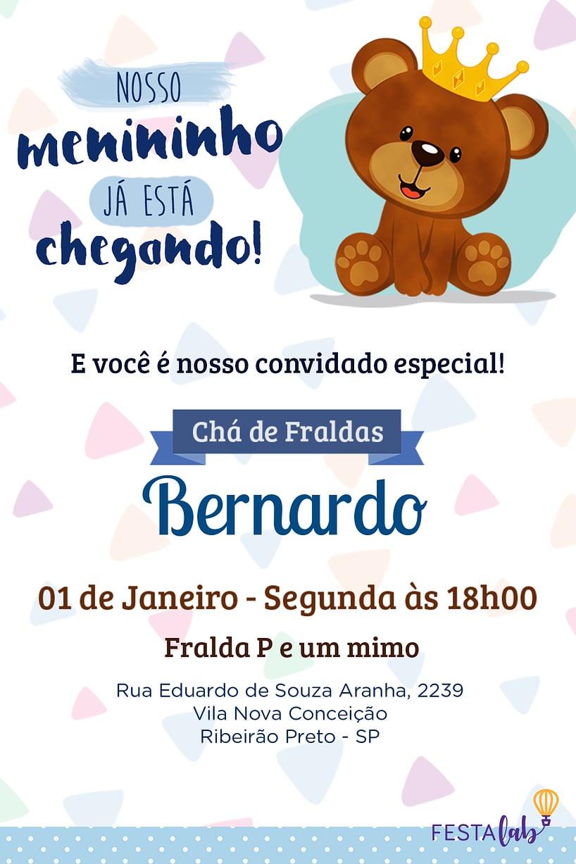Convite de Cha de fraldas - Ursinho